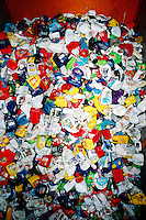 RECYCLING PLANT<br /> Sloatsburg, NY<br /> Large pile of household plastic products recycled by number. Items are given a number from 1 to 7 to help the recycling process simpler. The number 1 refers to polyethylene teraphthalate (PET) and the number 2 refers to high-density polyethylene (HDPE)