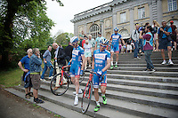 Team Wanty-Groupe Gobert riders coming down the steps of the famous African Museum in Tervuren towards the start<br /> <br /> Belgian Championships 2015