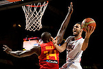 France's guard Evan Fournier vies with Spain's forward Serge Ibaka during the 2014 FIBA World basketball championships quarters of final match Spain vs France at the Palacio de los Deportes in Madrid on September 10, 2014.  PHOTOCALL3000 / DP