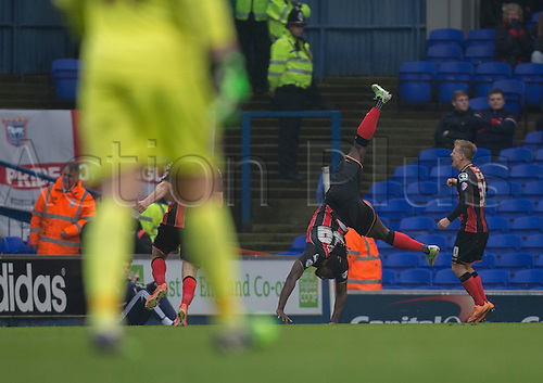 03.04.2015.  Ipswich, England. Skybet Championship. Ipswich Town versus AFC Bournemouth. Bournemouth's Kenwyne Jones celebrates his goal to make it 1-1.