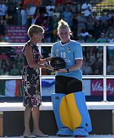 Best Goalkeeper of the tournament Ireland's Ayeisha McFerran with Liz Nichol (Chief executive UK Sport)<br /> Photographer Hannah Fountain/CameraSport<br /> <br /> Vitality Hockey Women's World Cup - Awards ceremony - Sunday 5th August 2018 - Lee Valley Hockey and Tennis Centre - Stratford<br /> <br /> World Copyright &copy; 2018 CameraSport. All rights reserved. 43 Linden Ave. Countesthorpe. Leicester. England. LE8 5PG - Tel: +44 (0) 116 277 4147 - admin@camerasport.com - www.camerasport.com
