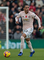 Manchester United's Chris Smalling <br /> <br /> Photographer David Horton/CameraSport<br /> <br /> The Premier League - Bournemouth v Manchester United - Saturday 3rd November 2018 - Vitality Stadium - Bournemouth<br /> <br /> World Copyright &copy; 2018 CameraSport. All rights reserved. 43 Linden Ave. Countesthorpe. Leicester. England. LE8 5PG - Tel: +44 (0) 116 277 4147 - admin@camerasport.com - www.camerasport.com