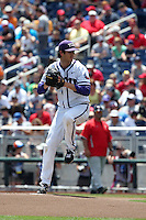 Preston Morrison #18 of the TCU Horned Frogs pitches during Game 3 of the 2014 Men's College World Series between the Texas Tech Red Raiders and TCU Horned Frogs at TD Ameritrade Park on June 15, 2014 in Omaha, Nebraska. (Brace Hemmelgarn/Four Seam Images)
