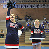 Halle Rosen, left, and Rachel Watson of Smithtown West perform during a cheerleading competition held at Hauppauge High School on Saturday, Jan. 21, 2017.