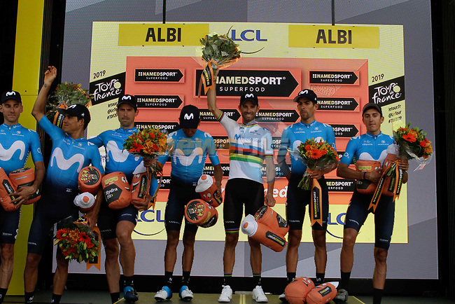 Movistar Team lead the team classification at the end of Stage 10 of the 2019 Tour de France running 217.5km from Saint-Flour to Albi, France. 15th July 2019.<br /> Picture: Colin Flockton   Cyclefile<br /> All photos usage must carry mandatory copyright credit (© Cyclefile   Colin Flockton)