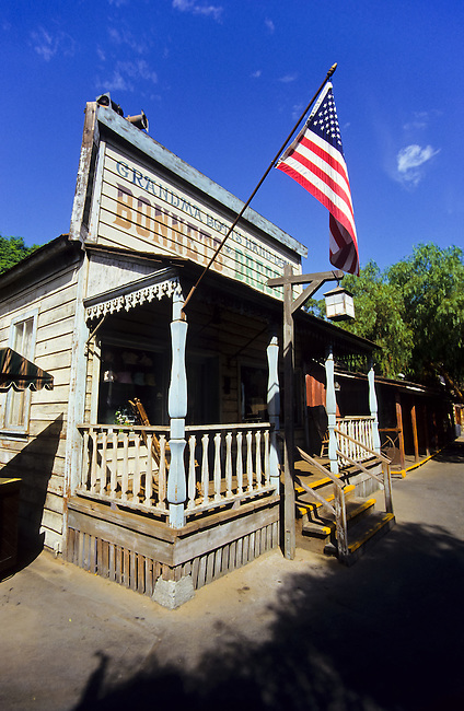 Wild west wood house or saloon at the Knotts Berryfarm in Los Angeles, California, USA