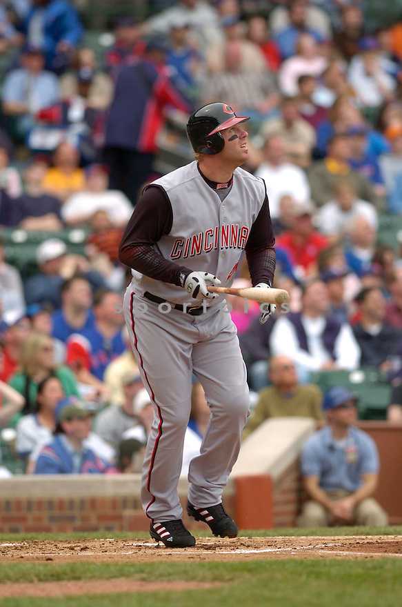 Adam Dunn, of the Cincinnati Reds, in action against the Chicago Cubs on April 11, 2006 in Chicago...Reds win 9-2..David Durochik / SportPics