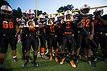 The Northwest Cabarrus Trojans prepare to take the field prior to their varsity football game against the East Rowan Mustangs at Trojan Stadium September 22, 2017, in Concord, North Carolina.  The Trojans defeated the Mustangs 48-6.  (Brian Westerholt/Sports On Film)