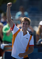 Filip Peliwo..Tennis - US Open - Grand Slam -  New York 2012 -  Flushing Meadows - New York - USA - Saturday 8th September  2012. .© AMN Images, 30, Cleveland Street, London, W1T 4JD.Tel - +44 20 7907 6387.mfrey@advantagemedianet.com.www.amnimages.photoshelter.com.www.advantagemedianet.com.www.tennishead.net