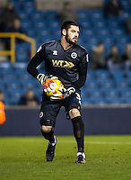 Goalkeeper Tom King of Millwall during the Checkatrade Trophy round two Southern Section match between Millwall and Wycombe Wanderers at The Den, London, England on the 7th December 2016. Photo by Liam McAvoy.
