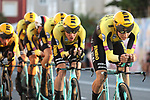 Team Jumbo-Visma in action during Stage 1 of La Vuelta 2019, a team time trial running 13.4km from Salinas de Torrevieja to Torrevieja, Spain. 24th August 2019.<br /> Picture: Luis Angel Gomez/Photogomezsport | Cyclefile<br /> <br /> All photos usage must carry mandatory copyright credit (© Cyclefile | Luis Angel Gomez/Photogomezsport)