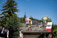 rooftop fans along the course<br /> <br /> Stage 18 from Méribel to La Roche-sur-Foron (175km)<br /> <br /> 107th Tour de France 2020 (2.UWT)<br /> (the 'postponed edition' held in september)<br /> <br /> ©kramon