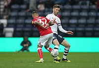 Preston North End's Paul Gallagher battles with  Bristol City's Jack Hunt<br /> <br /> Photographer Mick Walker/CameraSport<br /> <br /> The EFL Sky Bet Championship - Preston North End v Bristol City - Saturday 2nd March 2019 - Deepdale Stadium - Preston<br /> <br /> World Copyright © 2019 CameraSport. All rights reserved. 43 Linden Ave. Countesthorpe. Leicester. England. LE8 5PG - Tel: +44 (0) 116 277 4147 - admin@camerasport.com - www.camerasport.com