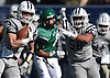 Jake Lazzaro #2 of Oceanside, left, picks up yards after a catch during the Nassau County football Conference I semifinals against Farmingdale at Shuart Stadium in Hempstead on Saturday, Nov. 10, 2018.