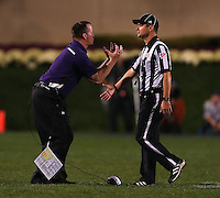 Northwestern Wildcats head coach Pat Fitzgerald yells at a ref during the second half of the NCAA football game between Ohio State and Northwestern at Ryan Field in Evanston, Illinois on Saturday, October 5, 2013. (Columbus Dispatch photo by Jonathan Quilter)