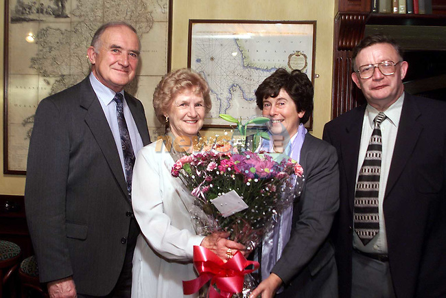 Marie Keane with her husband Noel and principal Michael Dowd and deputy principal Theresa Stack at her retirement party in the Monasterboice Inn..Picture Paul Mohan Newsfile