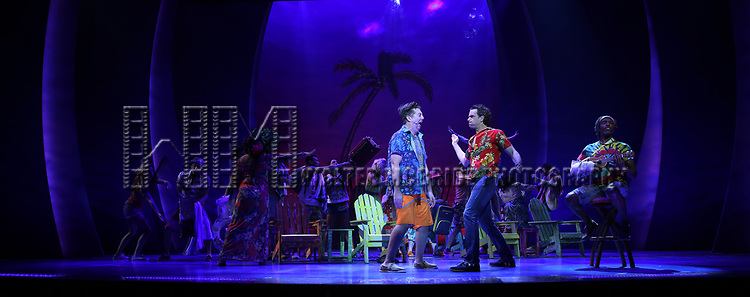 Eric Peterson, Paul Alexander Nolan and Andre Ward with cast during the Press Sneak Peak for the Jimmy Buffett  Broadway Musical 'Escape to Margaritaville' on February 15, 2018 at the Marquis Theatre in New York City.