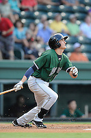 Third baseman Ryder Jones (15) of the Augusta GreenJackets bats in a game against the Greenville Drive on Friday, July 11, 2014, at Fluor Field at the West End in Greenville, South Carolina. Jones was a second-round pick of the San Francisco Giants in the 2013 First-Year Player Draft. He is listed as the Giants' No. 15 prospect by Baseball America. Greenville won, 7-6. (Tom Priddy/Four Seam Images)