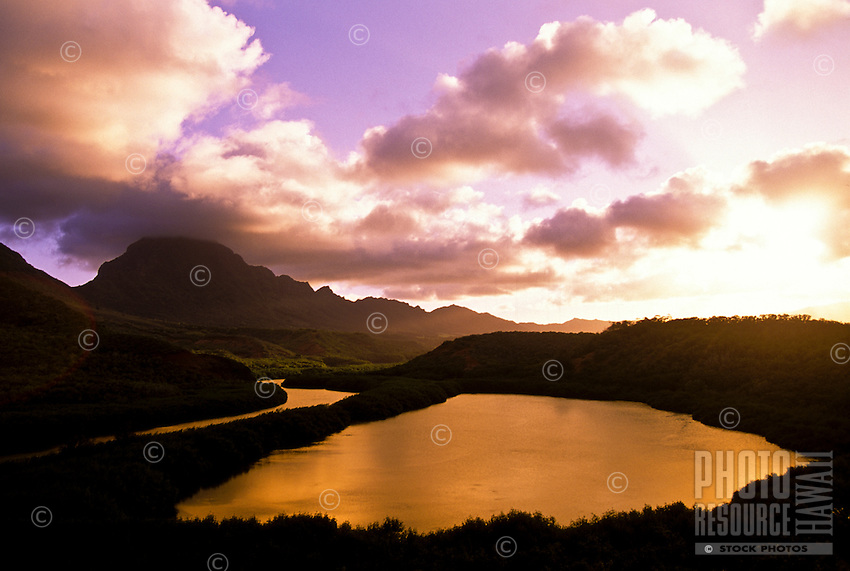 The Menehune Fish Pond at sunset near Nawiliwili harbor, island of Kauai