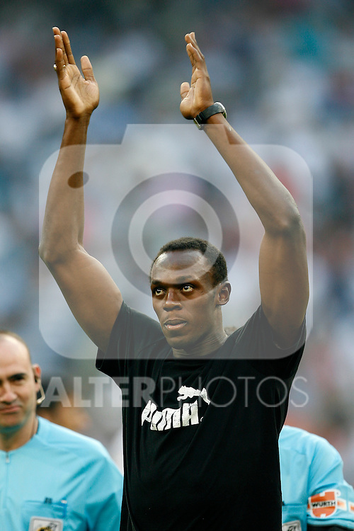 Tribute to Usain Bolt before La Liga match in Santiago Bernabeu Stadium.August 29 2009. (ALTERPHOTOS/Acero).