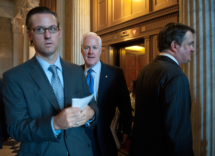 Sen. John Cornyn, R-Texas., arrives in the Capitol for the Senate ERepublicans' lunch on Tuesday, June 29, 2010.