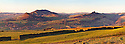 Panoramic view of the Roaches and Ramshaw Rocks. Staffordshire, Peak District National Park, UK. January.