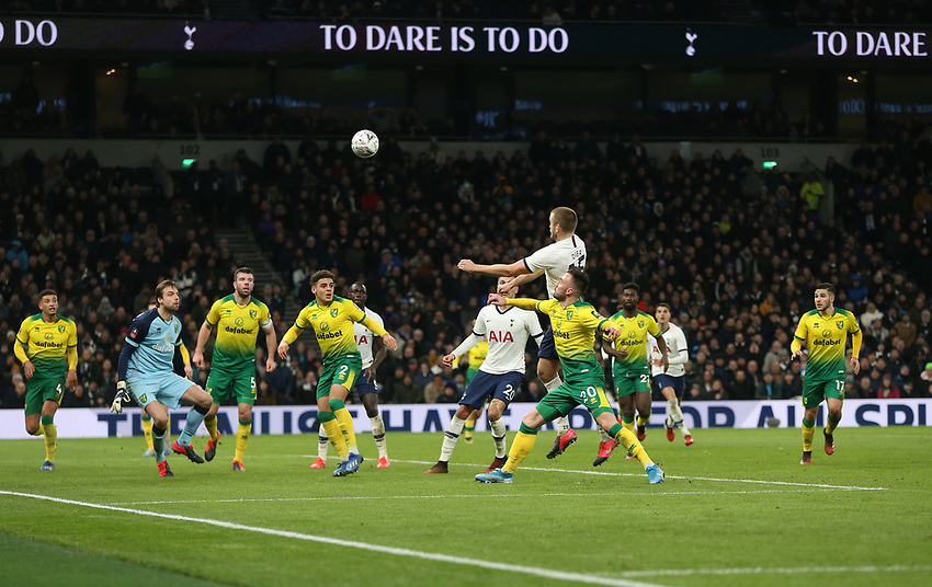 Tottenham Hotspur's Eric Dier rises highest in an attempt to head towards goal<br /> <br /> Photographer Rob Newell/CameraSport<br /> <br /> The Emirates FA Cup Fifth Round - Tottenham Hotspur v Norwich City - Wednesday 4th March 2020 - Tottenham Hotspur Stadium - London<br />  <br /> World Copyright © 2020 CameraSport. All rights reserved. 43 Linden Ave. Countesthorpe. Leicester. England. LE8 5PG - Tel: +44 (0) 116 277 4147 - admin@camerasport.com - www.camerasport.com