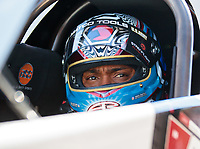 Oct 26, 2018; Las Vegas, NV, USA; NHRA top fuel driver Antron Brown during qualifying for the Toyota Nationals at The Strip at Las Vegas Motor Speedway. Mandatory Credit: Mark J. Rebilas-USA TODAY Sports
