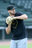 Atlanta Braves pitcher Chad Sobotka warms up for a live-pitching workout with Major League and Minor League players from around the region on Tuesday, June 2, 2020, at Fluor Field at the West End in Greenville, South Carolina. Team workouts have been shut down during the coronavirus pandemic. The players have begun working out in what they call game situation simulations a couple of days a week. Sobotka was drafted out of USC Upstate. (Tom Priddy/Four Seam Images)