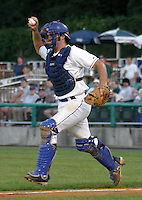 August 16, 2003:  Catcher Alex Blackburn (14) of the Auburn Doubledays, Class-A affiliate of the Toronto Blue Jays, during a game at Falcon Park in Auburn, NY.  Photo by:  Mike Janes/Four Seam Images