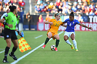 Carson, CA - Thursday August 03, 2017: Ellie Carpenter, Maria during a 2017 Tournament of Nations match between the women's national teams of Australia (AUS) and Brazil (BRA) at the StubHub Center.