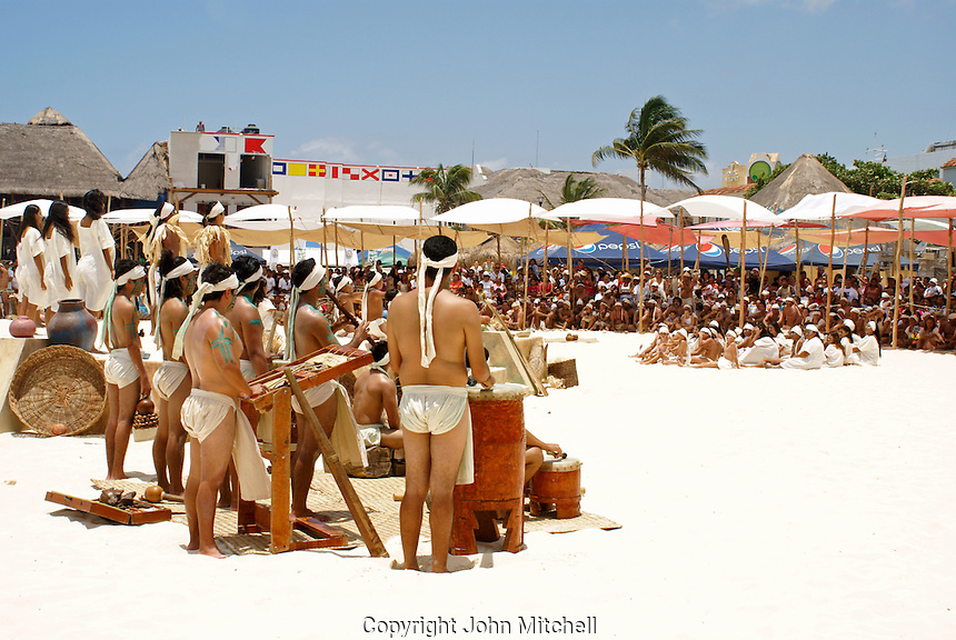 Closing ceremonies at Playa del Carmen or Xamanha, Sacred Mayan Journey 2011 event, Riviera Maya, Quintana Roo, Mexico.
