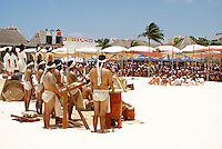 Closing ceremonies at Playa del Carmen or Xamanha, Sacred Mayan Journey 2011 event, Riviera Maya, Quintana Roo, Mexico.