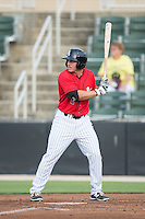 Michael Danner (2) of the Kannapolis Intimidators at bat against the Lexington Legends at CMC-Northeast Stadium on May 26, 2015 in Kannapolis, North Carolina.  The Intimidators defeated the Legends 4-1.  (Brian Westerholt/Four Seam Images)
