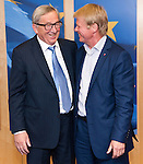 Belgium, Brussels - June 14, 2016 -- Jean-Claude JUNCKER (le), President of the European Commission, receives Reiner HOFFMANN (ri), President of the German Trade Union Confederation (DGB - Deutscher Gewerkschaftsbund) -- Photo © HorstWagner.eu