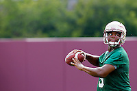 TALLAHASSEE, FLA.8/6/13-FSU080613CH-Florida State quarterback Jameis Winston throws during practice Aug. 6, 2013 in Tallahassee, Fla.<br /> <br /> COLIN HACKLEY PHOTO
