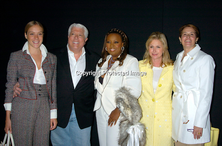 Chloe Sevigny, Dennis Basso, Star Jones, Cathy Hilton and ..Lorraine Bracco ..at the Dennis Basso Fall/Winter 2004 Fur Fashion Show on ..May 26, 2004 at Cipriani 42nd Street . Photo by Robin Platzer, Twin Images