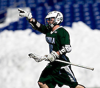 Matt Langan (15) of Loyola celebrates a goal at the Navy-Marine Corp Memorial Stadium in Annapolis, Maryland.   Loyola defeated Navy, 8-7, in overtime.