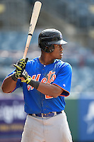 Jamarius Smith (20) of Meridan High School in Meridan, Mississippi playing for the New York Mets scout team during the East Coast Pro Showcase on August 1, 2014 at NBT Bank Stadium in Syracuse, New York.  (Mike Janes/Four Seam Images)