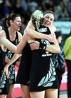 20.09.2012 Silver Ferns Irene Van Dyk celebrates with Katrina Grant during the second netball test match between the Silver Ferns and the Australian Diamonds played at Vector Arena in Auckland. Mandatory Photo Credit ©Michael Bradley.