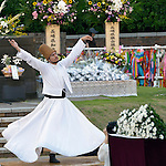 A man performs a Sufi dance during an interfaith service in Nagasaki, Japan, to commemorate those who died as the result of the U.S. atomic bomb dropped on the city in 1945. Participants in the service, which took place at the hypocenter of the blast, included a team of pilgrims from the World Council of Churches who came to Japan to see for themselves the results of the bombings 70 years ago, to listen to survivors and local church leaders, and to recommit themselves to new forms of advocacy for a world free of nuclear weapons.