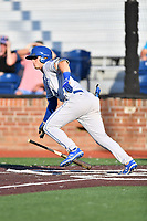 Burlington Royals Jake Means (9) runs to first base during game one of the Appalachian League Championship Series against the Johnson City Cardinals at TVA Credit Union Ballpark on September 2, 2019 in Johnson City, Tennessee. The Royals defeated the Cardinals 9-2 to take the series lead 1-0. (Tony Farlow/Four Seam Images)