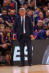 Turkish Airlines Euroleague 2018/2019. <br /> Regular Season-Round 24.<br /> FC Barcelona Lassa vs R. Madrid: 77-70. <br /> Svetislav Pesic.
