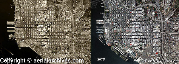 aerial photographs San Diego, California then and now historical changes 1966 and 2010