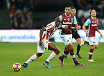West Ham's Dimitri Payet tussles with Stoke's Bruno Martins Indi during the Premier League match at the London Stadium, London. Picture date November 5th, 2016 Pic David Klein/Sportimage