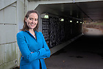 Assistant Professor, Dr. Amy Lynch, poses near the pedestrian tunnel under SR 682 on December 1, 2016.