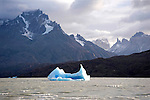 Icebergs in Lago Grey in Torres del Paine National Park in Patagonia Chile