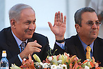 Israel Prime Minister Benjamin Netanyahu (L) and Israel Defense Minster Ehud Barak (R) are seen at the graduation ceremony of the College of National Security, at the Hebrew University in Jerusalem, Israel, July 28th, 2009. Photo By : Emil Salman / JINI..**ISRAEL OUT.