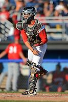 Batavia Muckdogs catcher Jose Behar #7 during a game against the Auburn Doubledays on June 18, 2013 at Dwyer Stadium in Batavia, New York.  Batavia defeated Auburn 10-2.  (Mike Janes/Four Seam Images)