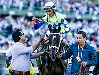 LOUISVILLE, KY - MAY 06: John Velazquez is congratulated after winning the Kentucky Derby aboard Always Dreaming #5 on Kentucky Derby Day at Churchill Downs on May 6, 2017 in Louisville, Kentucky. (Photo by Candice Chavez/Eclipse Sportswire/Getty Images)
